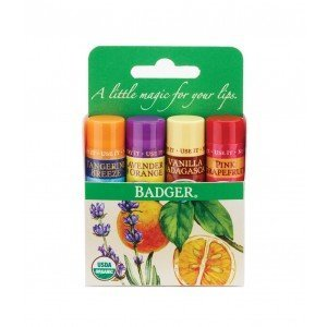 Badger Lip Balm Kit  Tangerine, Vanilla, Grapefruit,  Lavender
