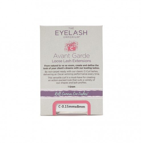 The Eyelash Emporium Loose Lashes C-Curl, 0.15mm, 8mm, Jar (1g)