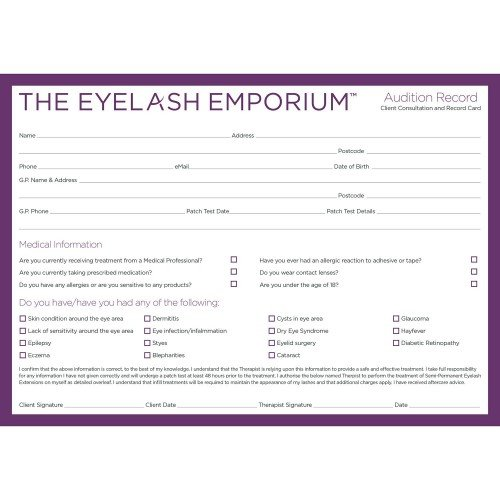 The Eyelash Emporium Marketing Curtain Call Aftercare Leaflet pack 100