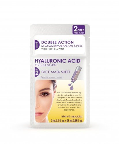 Skin Republic Two-Step Face Mask  Hyaluronic Acid+Collagen Microderma