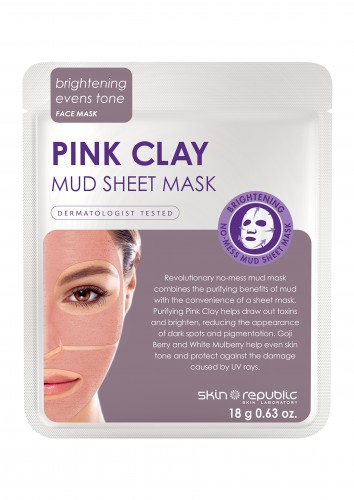 Skin Republic  Pink Clay Mud Sheet Face Mask