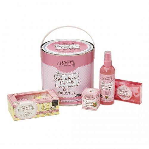 Patisserie de Bain Gift Tin Strawberry Cupcake Round Tin