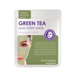 Skin Republic Face Mask Green Tea Mud Sheet Mask (18g) 10pk