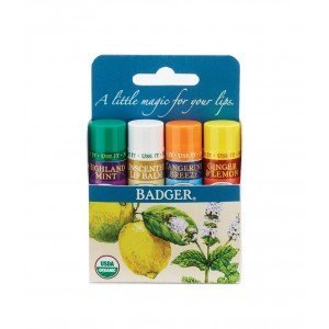 Badger Lip Balm Kit Ginger, Unscented, Mint  Tangerine